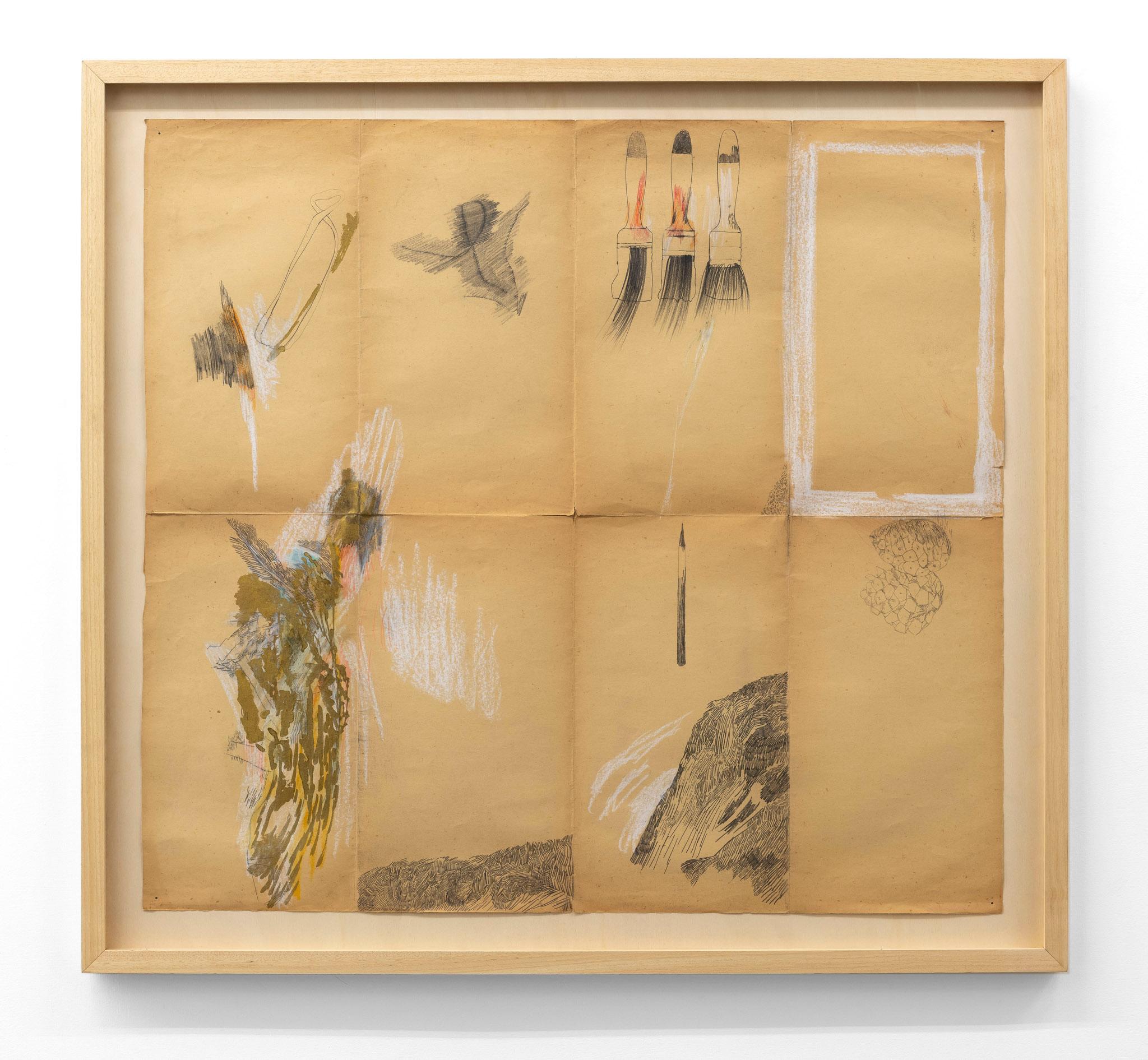 Paesaggio con pennelli, 1987 Grafite, acrilico, pastelli su carta; 115 x 124 cm;  foto: Giorgio Benni.  Courtesy l'artista e Monitor Roma, Lisbona, Pereto
