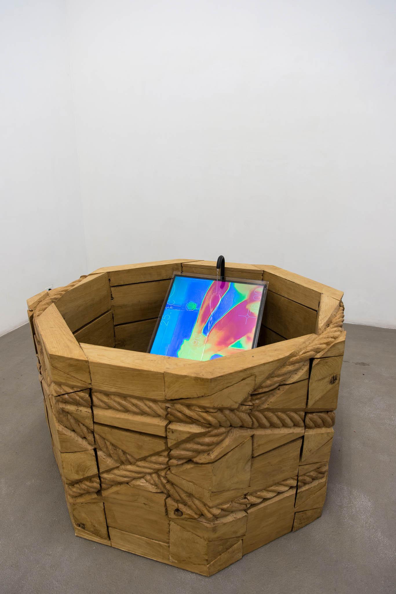 14. Mircea Cantor Fontana delle Mani, 2017; 7' video, legno, acqua; foto Giorgio Benni