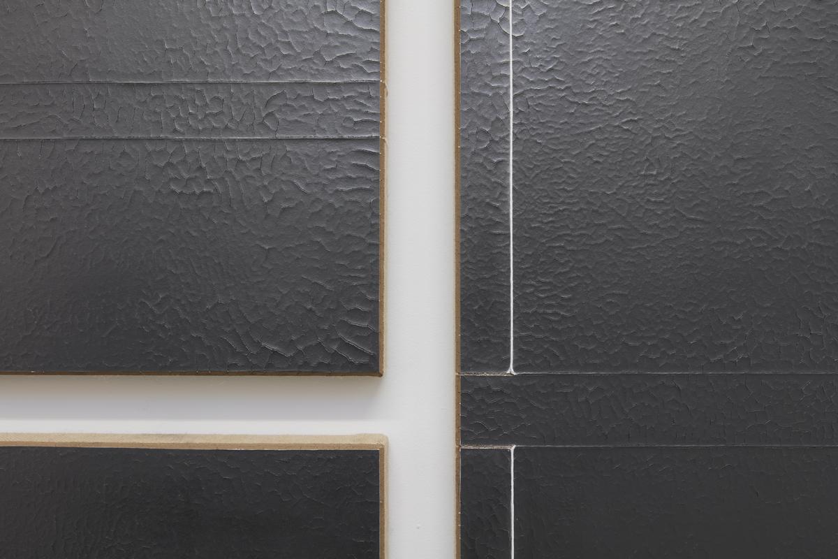 N. Dash Untitled, 2017 (detail); adobe, graphite, string, gesso, jute, wood support; photo Jean Vong; Courtesy the artist, Casey Kaplan Gallery, New York, and Mehdi Chouakri, Berlin