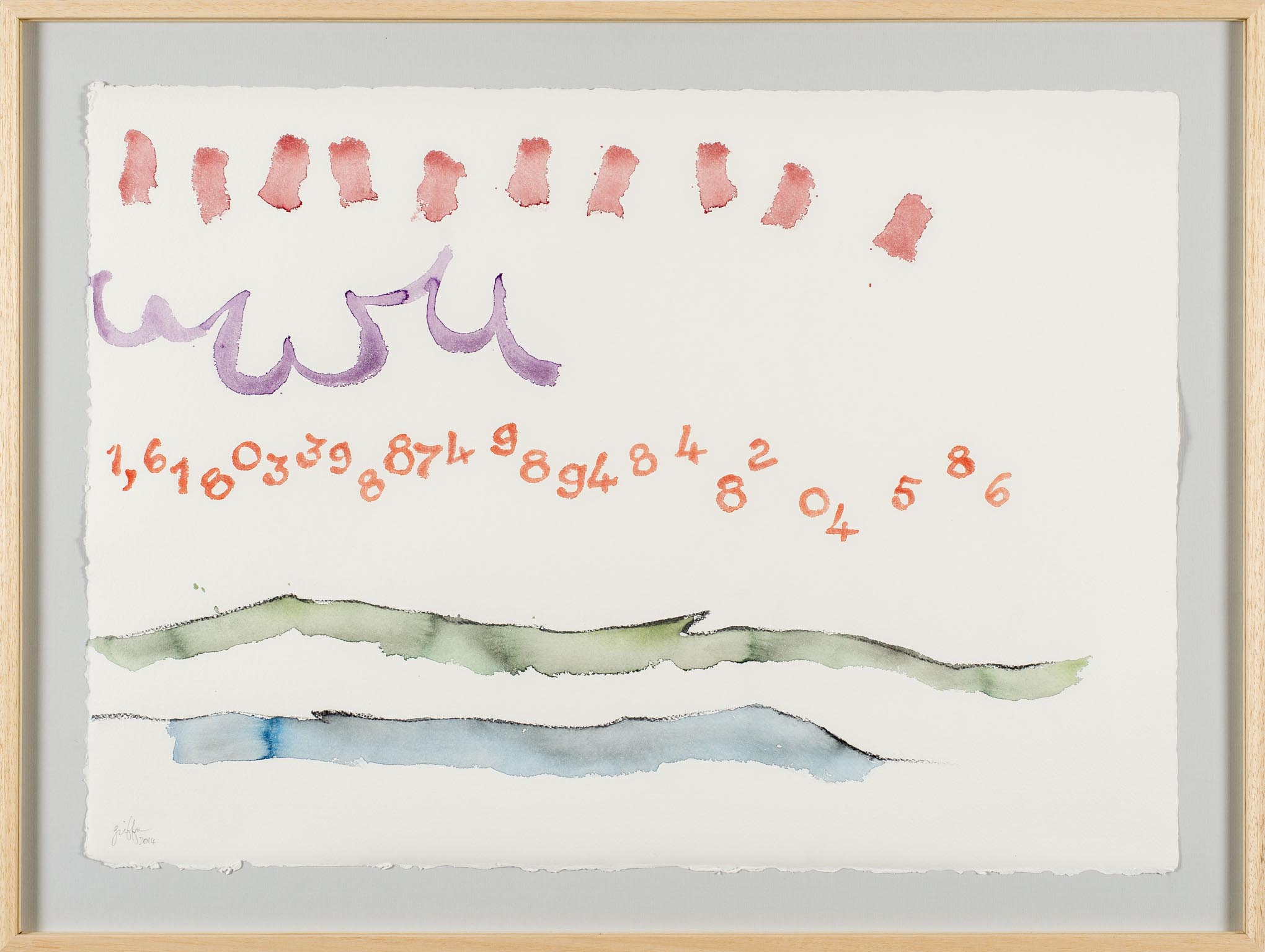 Giorgio Griffa Canone aureo 586, 2014; Courtesy the artist and Casey Kaplan Gallery, New York