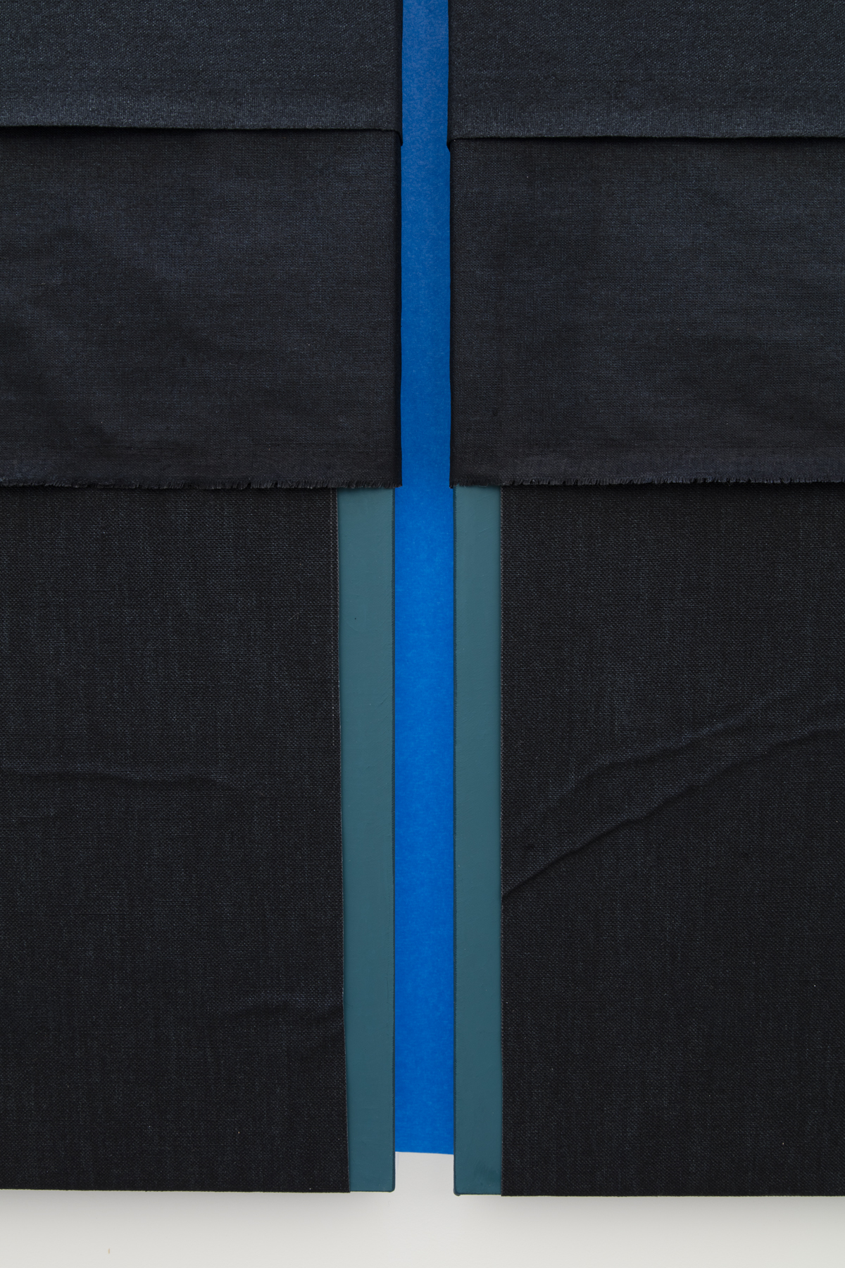 N. Dash Untitled, 2017 (detail); oil, pigment, acrylic, linen, painters tape, wood support; photo Jean Vong; Courtesy the artist, Casey Kaplan Gallery, New York, and Mehdi Chouakri, Berlin