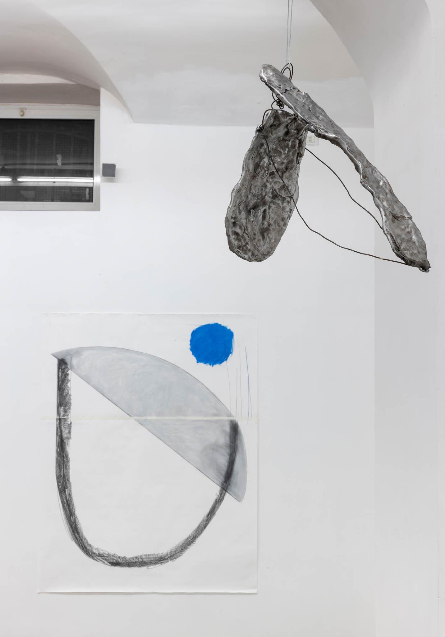 Esther Kläs Room 2, 2019 (detail), 9 aluminium pieces, 4 drawing; Courtesy SpazioA, Pistoia; photo Giorgio Benni