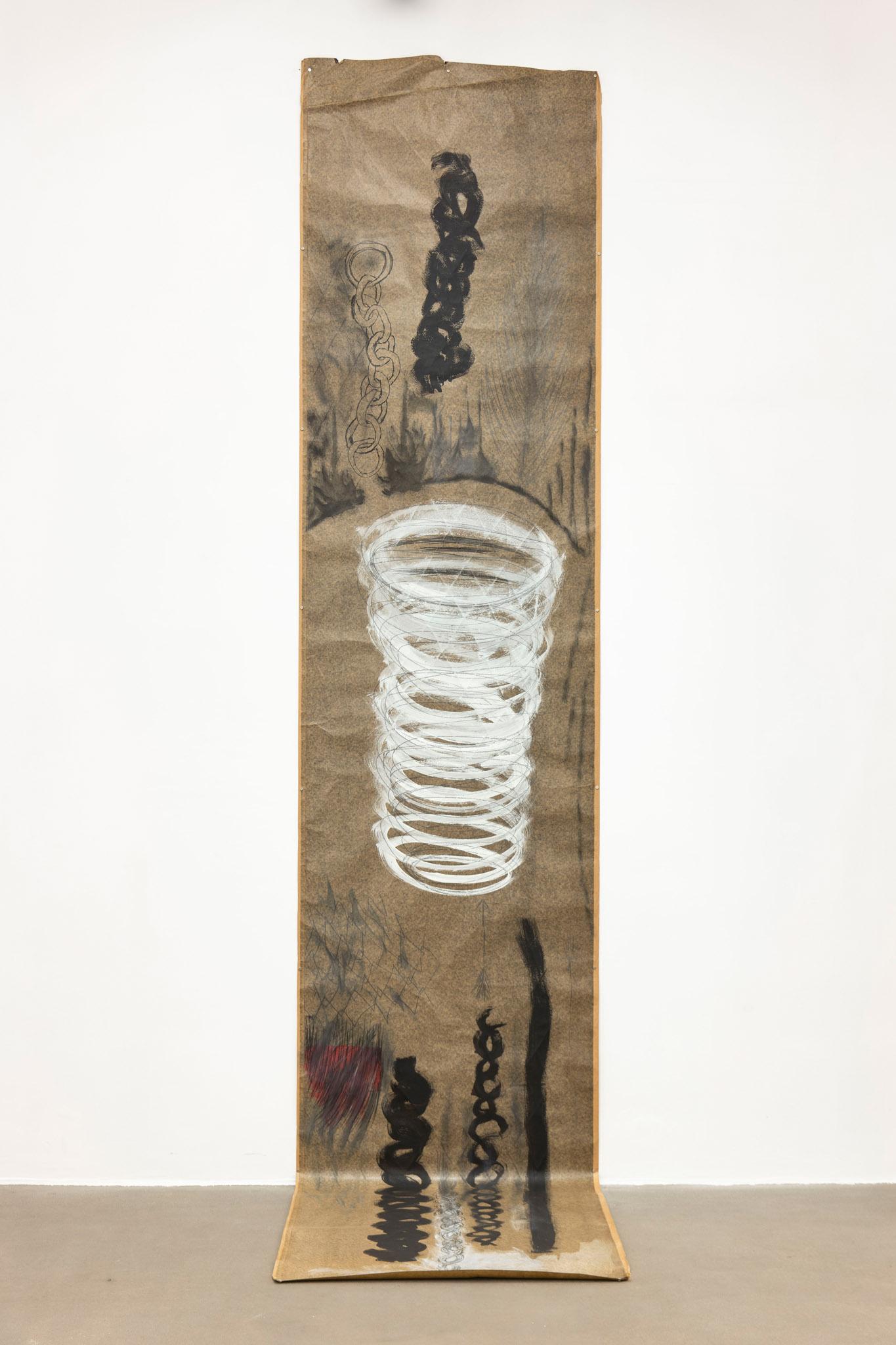 Catene e vortice, 1999 Tecnica mista su carta catramata; 336 x 101 cm;  foto: Giorgio Benni.  Courtesy l'artista e Monitor Roma, Lisbona, Pereto